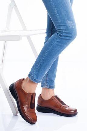 derithy Kadın Taba Hakiki Deri Ayakkabı