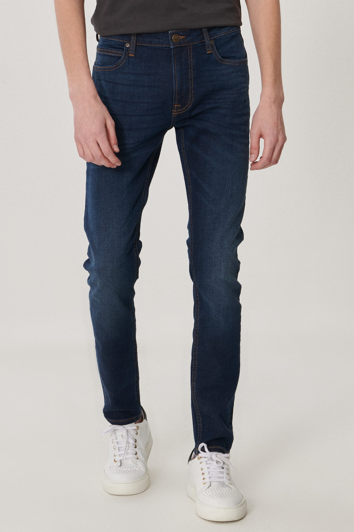 Lee Malone Erkek Koyu Mavİ Skinny Normal Bel Çok Dar Paça Esnek Jean Pantolon