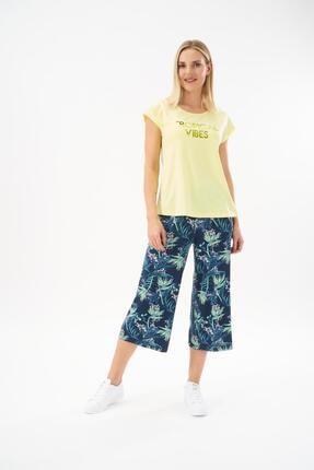 PJS Kadın Sarı Desenli Kapri Takım 22129