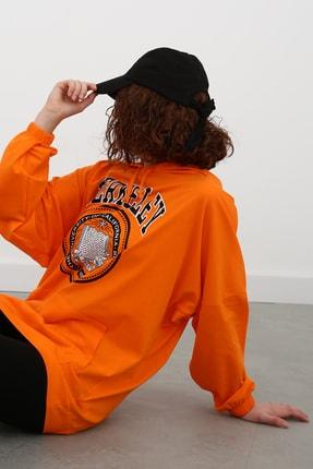 Ekrumoda Kadın Turuncu Kapüşonlu Sweatshirt