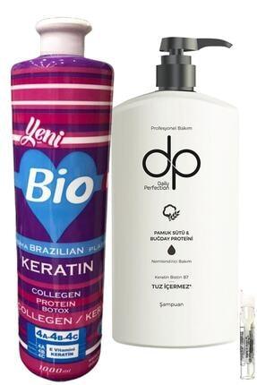 Bio Keratin Brezilya Fön Keratini 1000 ml Kıvırcık Saçlar Tuzsuz Şampuan Pamuk Sütü Buğday Proteini