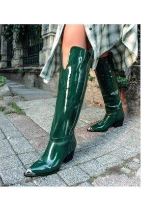Sibel Durmaz Kadın Wera Yeşil Rugan Metal Burun Dallas Çizme