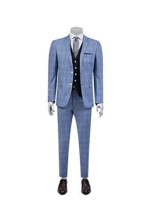 D'S Damat Erkek Süper Slim Fit Slim Fit Mavi Kareli Ceket