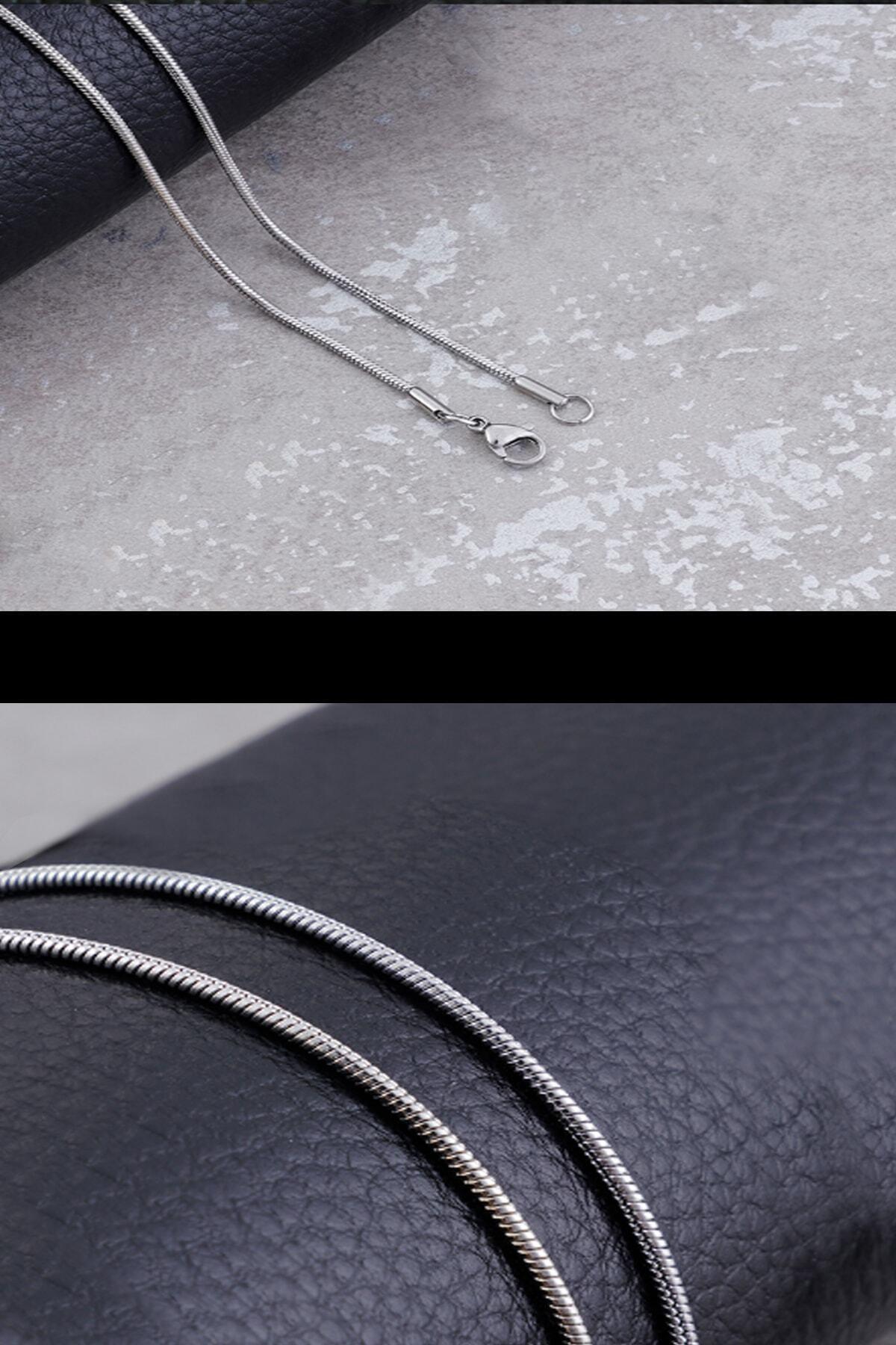 Salyangoz Company Unisex Gümüş İnce Yılan Model Çelik Zincir 60 cm 2