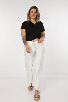Womenice Kadın Büyük Beden Beyaz Kurdelalı Bol Paça Pantolon