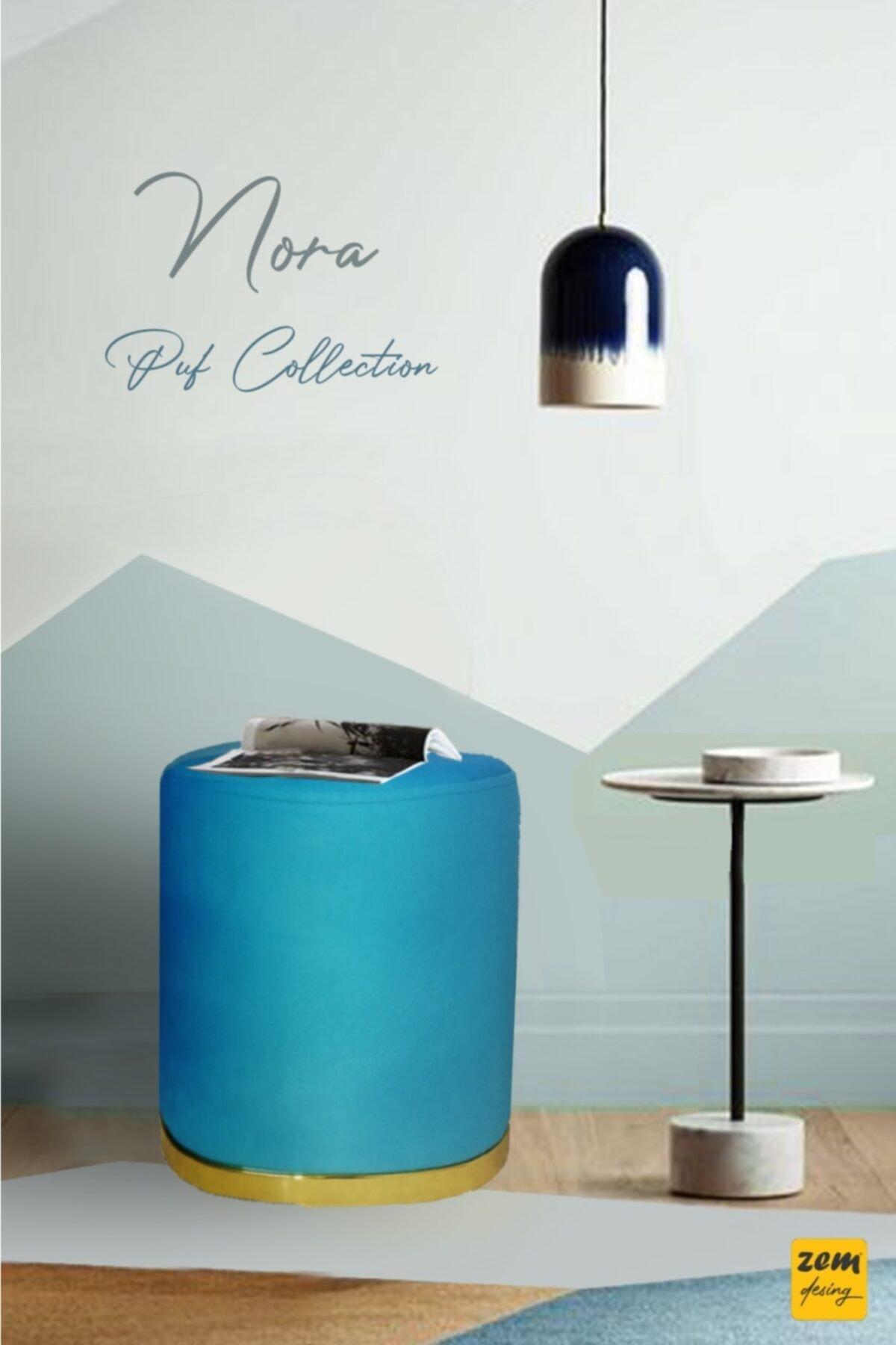 Zem Nora Silinebilir Puf - Light Sky Blue Gold 1