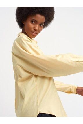 Dilvin 5841 Kadın Oversıze Gömlek-sarı