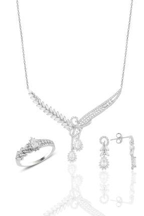 Söğütlü Silver Gümüş Rodyumlu Pırlanta Modeli Beyaz Altın Görünümlü Kolye Küpe Ve Yüzük Seti