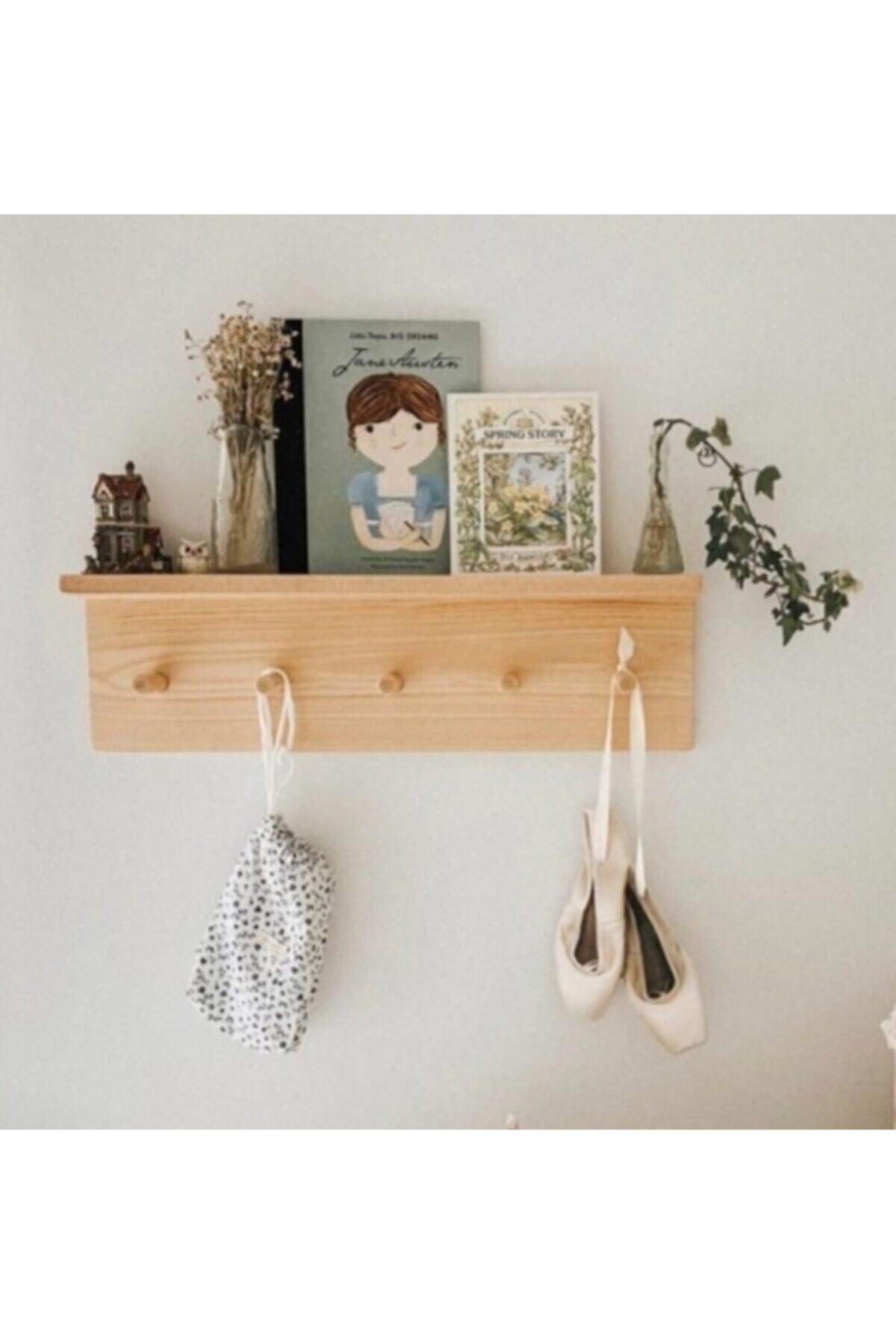 Lina Ahşap Diyarı Ahşap Raflı Duvar Askılığı Montessori Askılık 2
