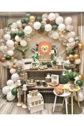 Almira Meri Parti Safari Konsept Balon ve Balon Zinciri Metalik Balon 100 Adet