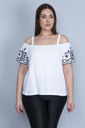 Şans Kadın Beyaz Kolları Nakış Detaylı Askılı Bluz 65N23326