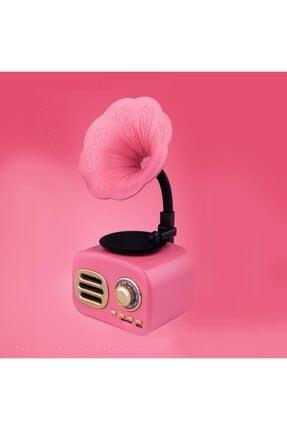 JUNGLEE Ft-05 Mini Retro Ahşap Gramafon Radyo Music Box Bluetooth Hoparlör Pembe