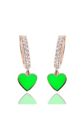 exist silver 925 Ayar Gümüş Swarovski Taşlı Yeşil Neon Rose Küpe