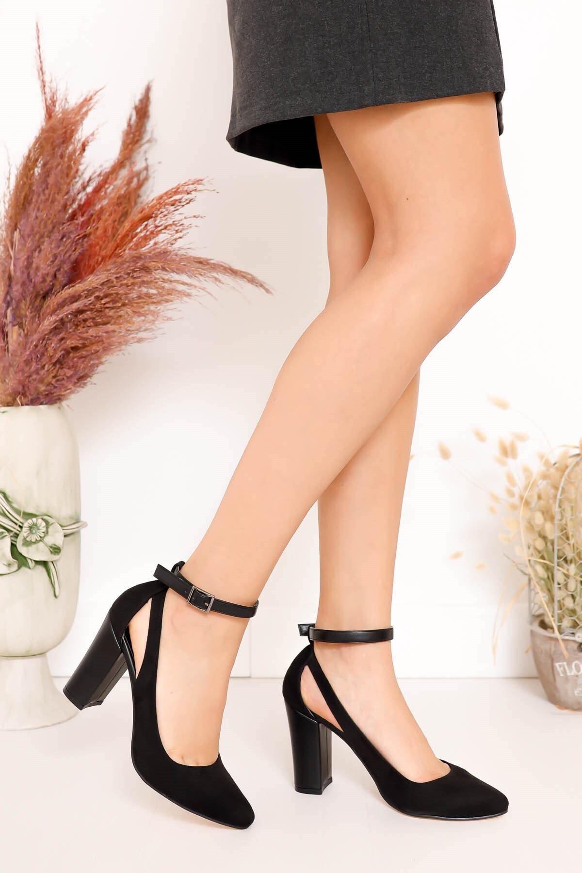 Hayalimdeki Ayakkabı Lillian Topuklu Siyah Süet Ayakkabı 1