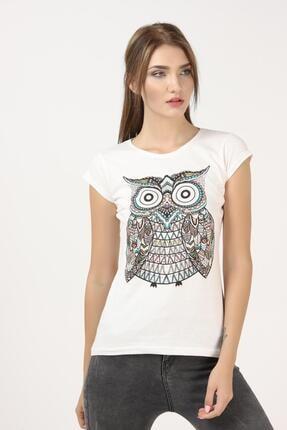 TENA MODA Kadın Ekru Baykuş Baskılı Tişört