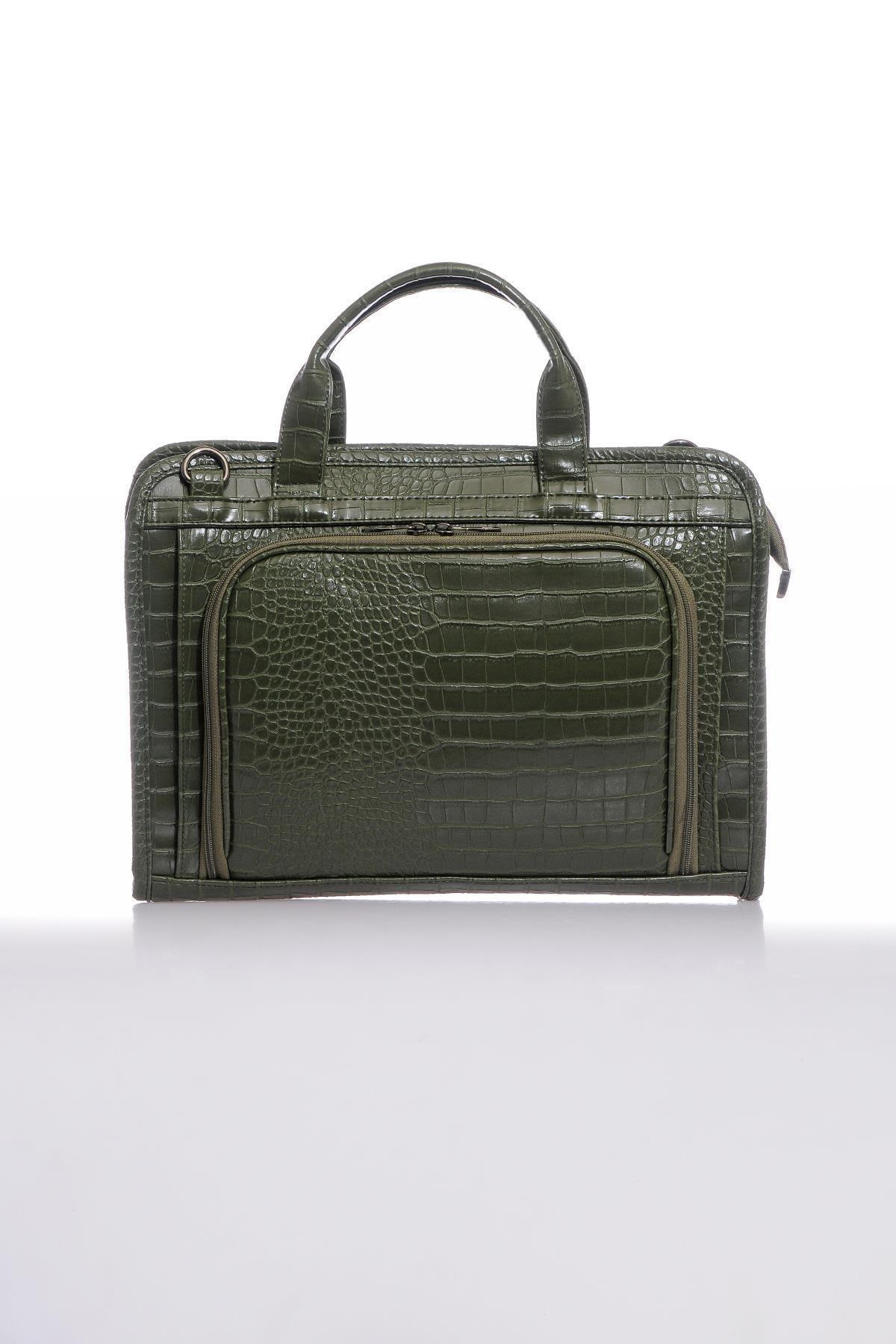 Sergio Giorgianni Luxury Sg071219 Kroko Haki Unisex Evrak Çantası 1