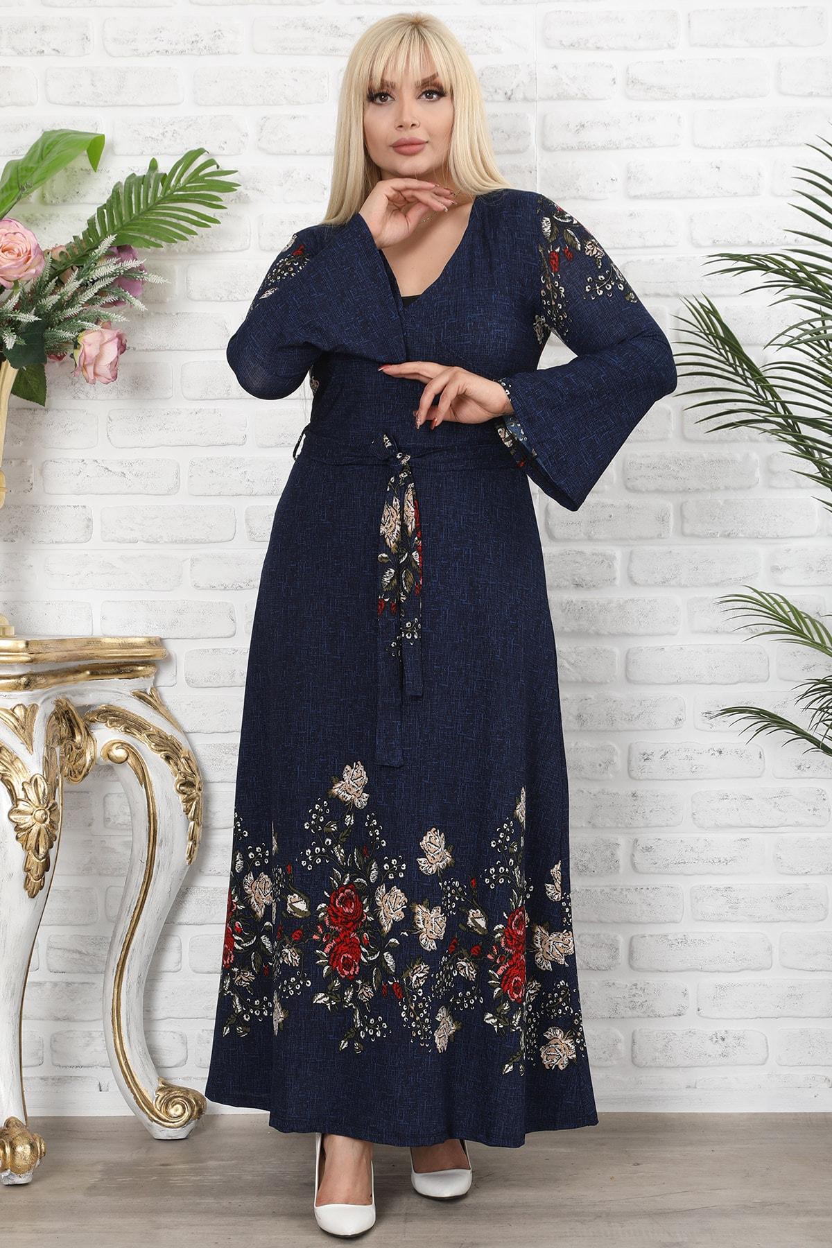 Osyoumoda Lacivert Çiçek Desenli Kruvaze Yaka Volan Kol Elbise 1