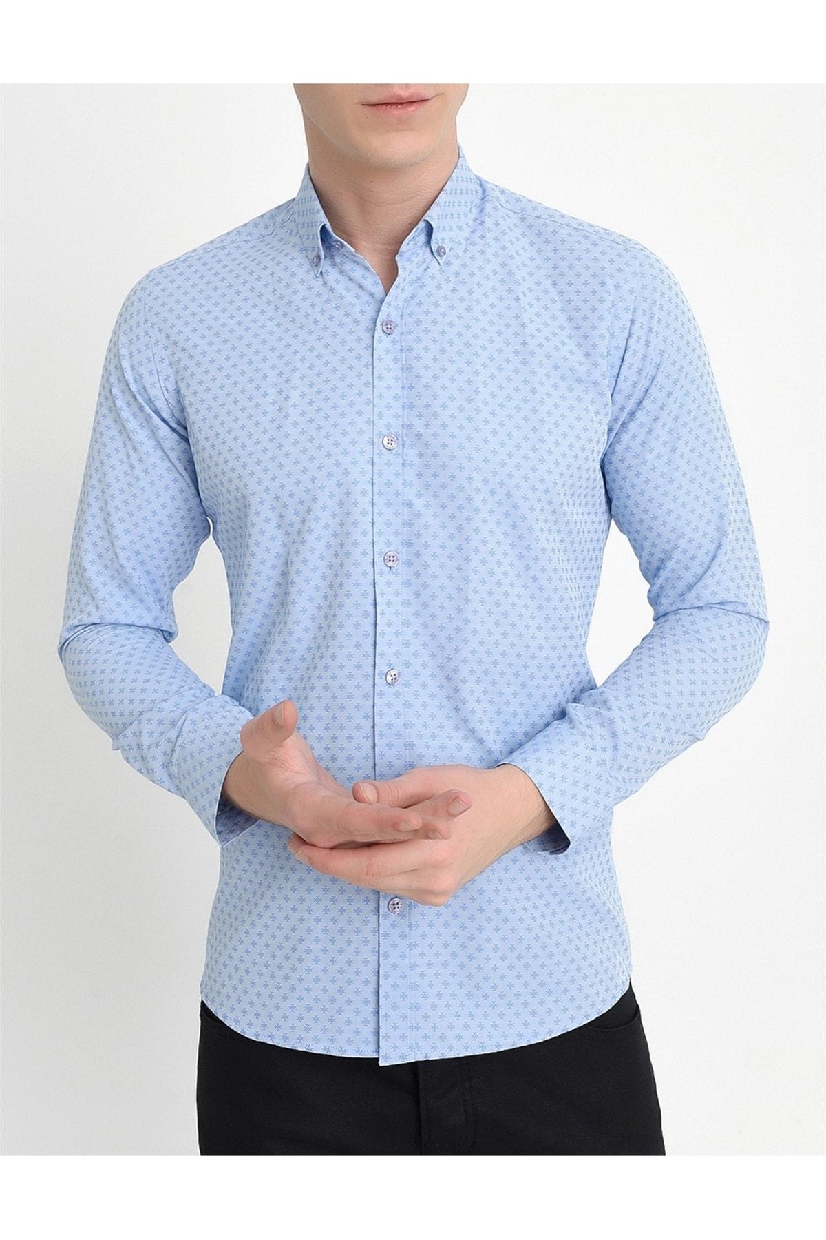 Efor Gk 559 Slim Fit Mavi Klasik Gömlek 1