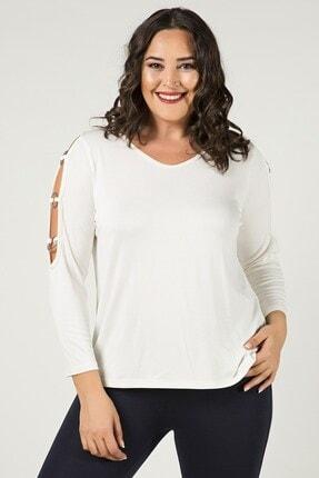 Womenice Büyük Beden Beyaz Kolları Halkalı Triko Bluz