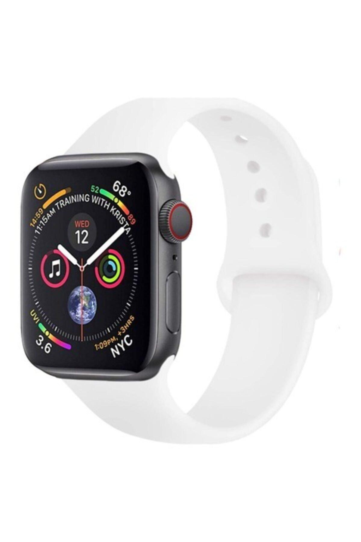 Bilişim Aksesuar Apple Watch 38 - 40 Mm Spor Kordon Silikon Kayış Beyaz 1
