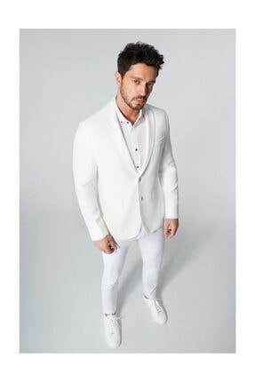 Avva Erkek Beyaz Mono Yaka Armürlü Slim Fit Cebi Kapaklı Ceket A01y4037