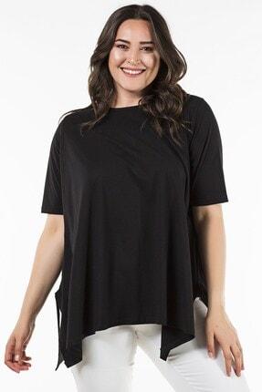 Womenice Büyük Beden Siyah Yırtmaşlı Salaş Tunik