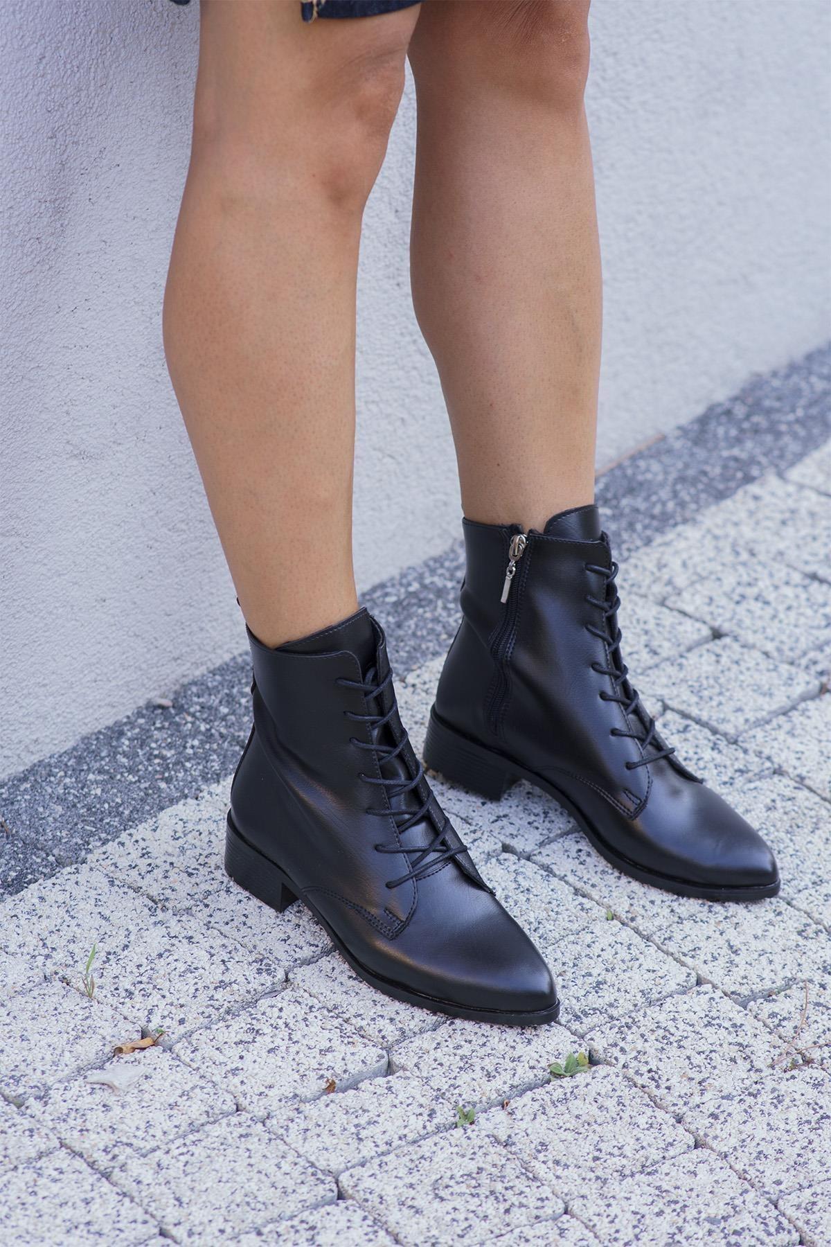 OCT Shoes Siyah Cilt Kadın Bot Ts1045 1