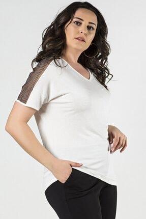 Womenice Büyük Beden Beyaz Kolları Tül Zincirli Kısa Kol Bluz