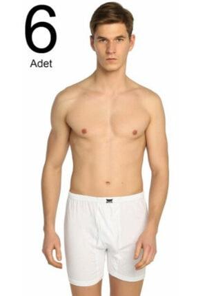 Tutku Erkek Beyaz 6'lı Paket Penye Paçalı Külot