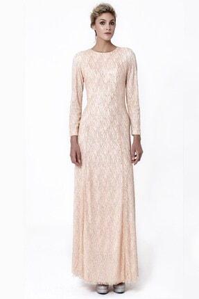 Abiye Sarayı Pudra Uzun Kollu Simli Uzun Abiye Elbise