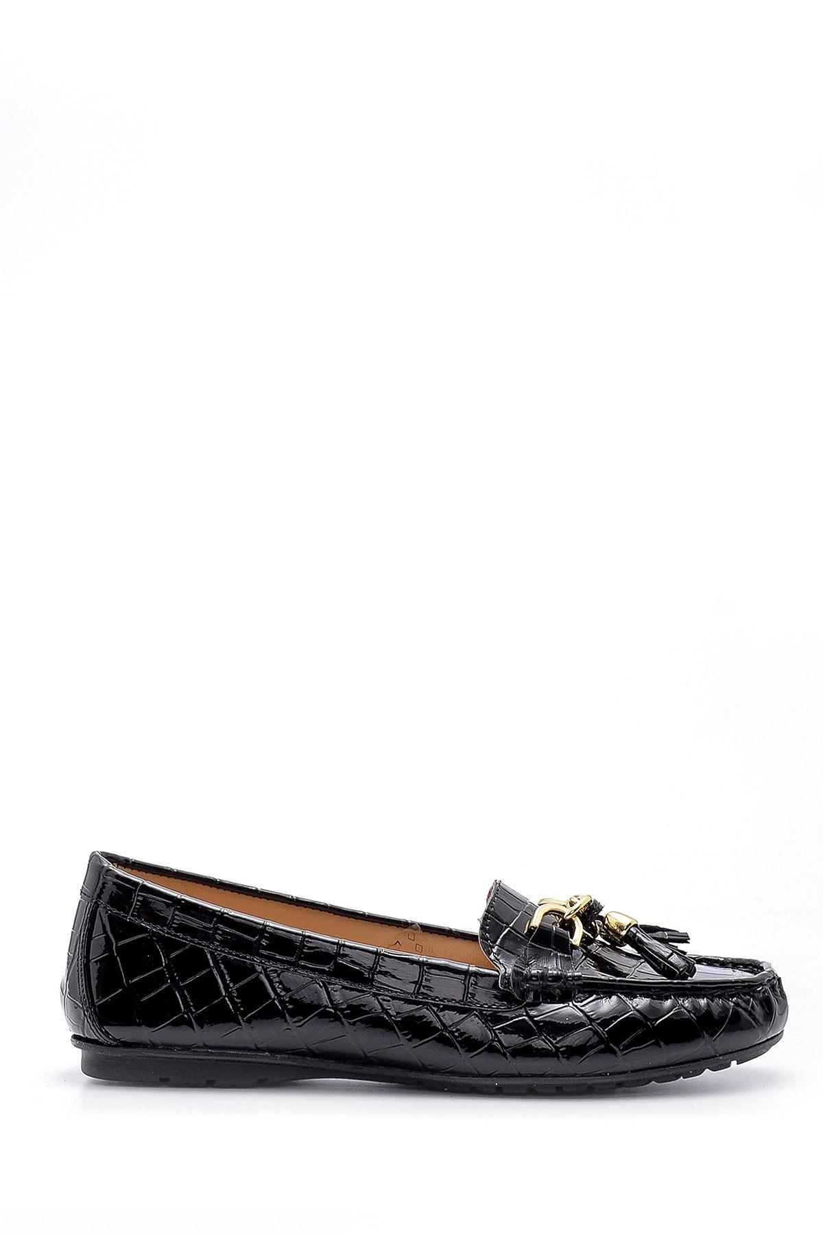 Derimod Kadın Kroko Desenli Rugan Loafer 1