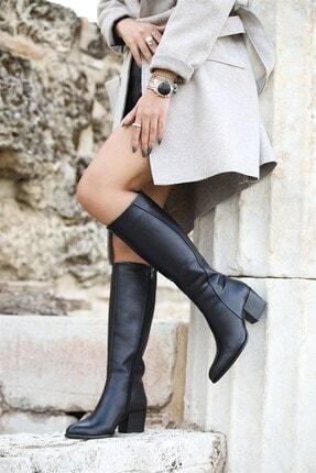 Venüs Kadın Siyah  Hakiki Deri Fermuarlı Topuklu Çizme