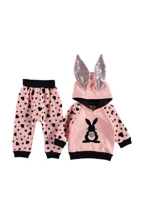 DDG Collection Tavşan Kalp Baskılı Kız Bebek Takım (1/3 Yaş)