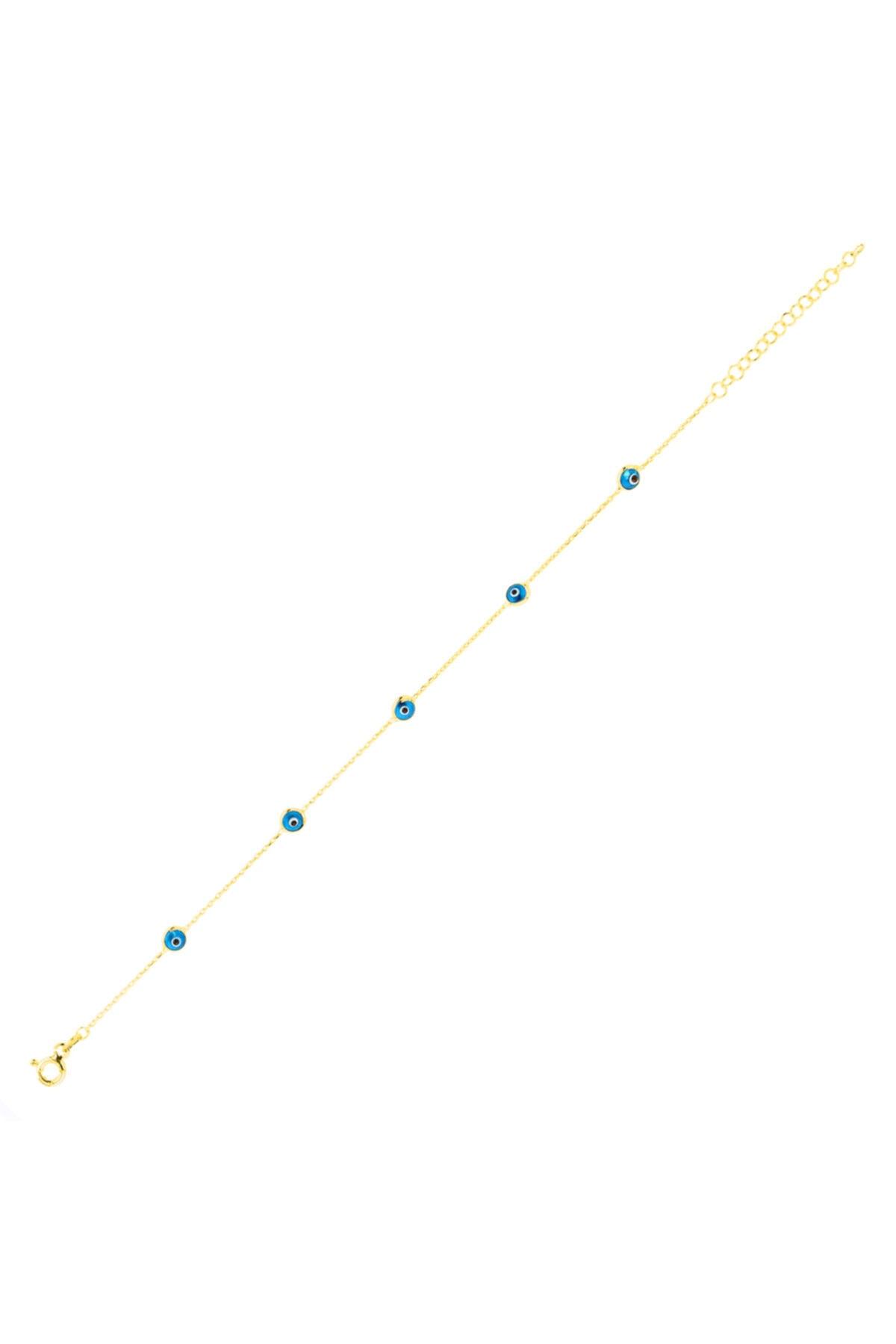 XSilver Kadın Nazar Boncuğu Sıra Taşlı Altın Rengi Gümüş Bileklik 1