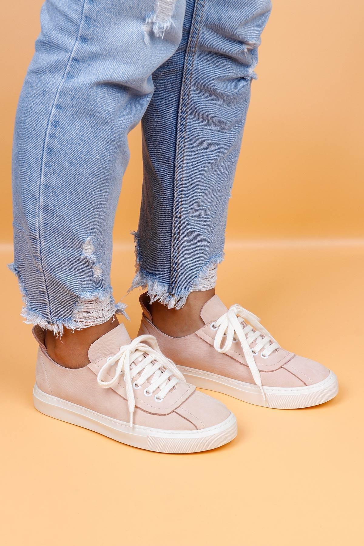 BUENO Shoes Hakiki Deri Bağcık Detaylı Kadın Spor Ayakkabı 20wq4703 1