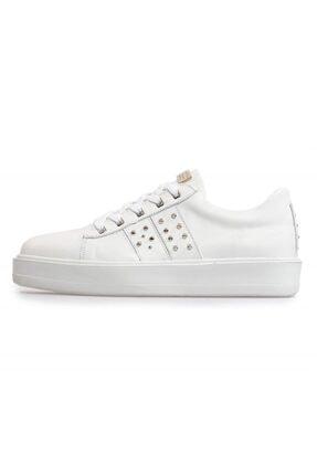 Flower Beyaz Deri Pimli Bağcıklı Erkek Sneakers