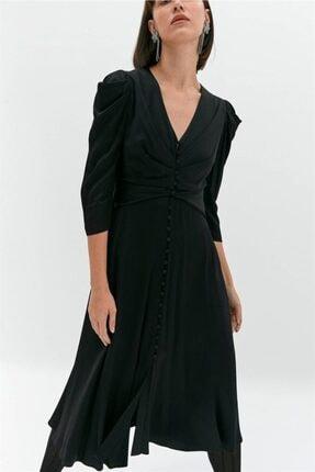 rue. Siyah Düğmeli Balon Kollu Elbise