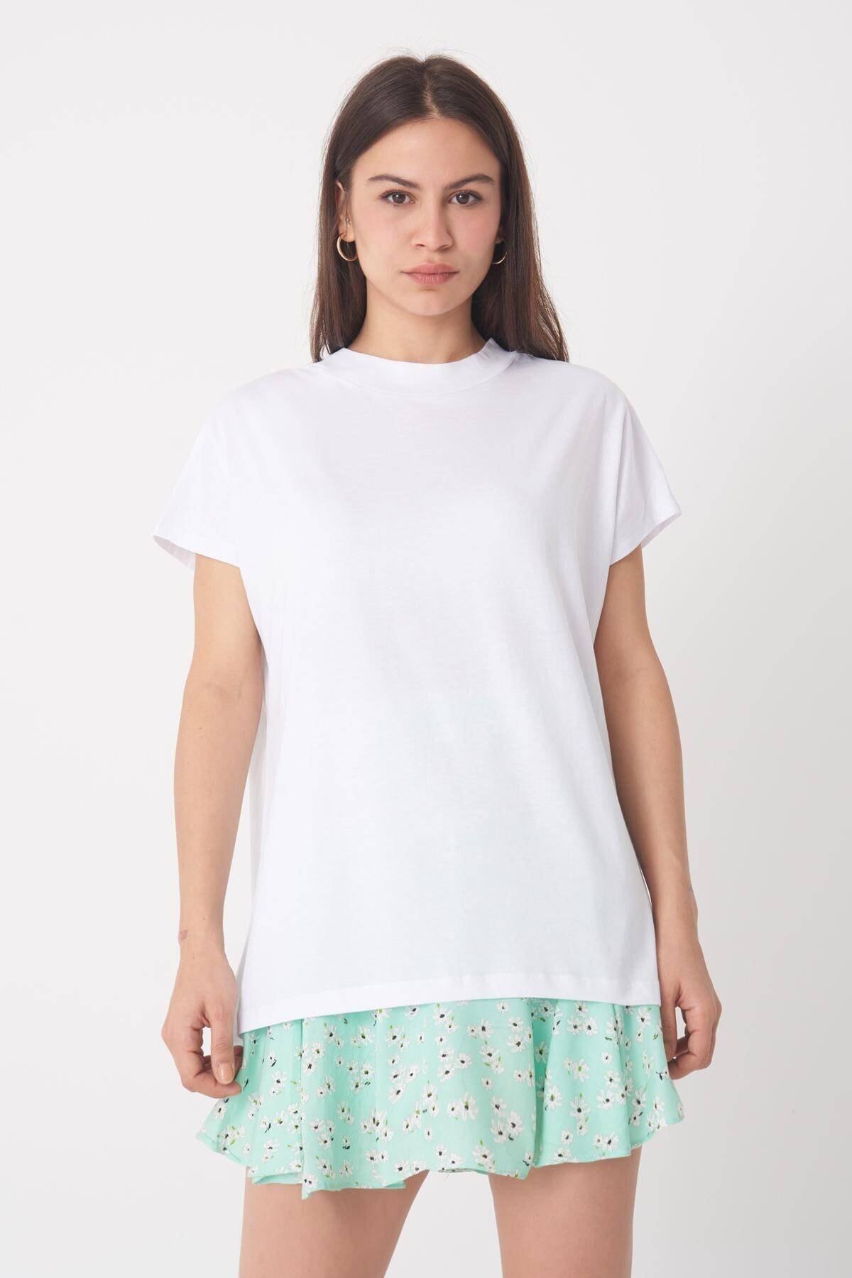 Addax Kadın Beyaz Basic Tişört P0769 - U13 ADX-0000020933 1