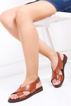 Deripabuc Hakiki Deri Taba Kadın Deri Sandalet Dp-0069