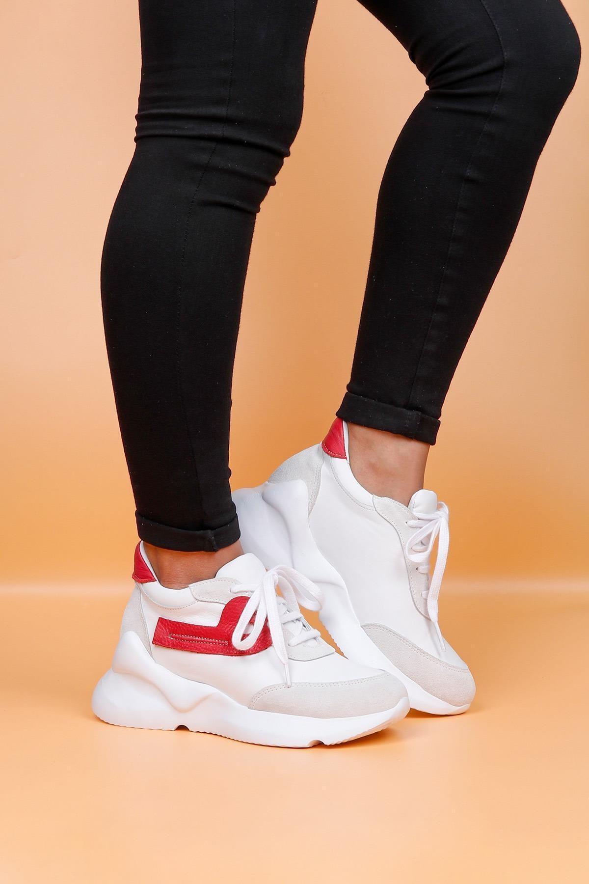 BUENO Shoes Hakiki Deri Bağcık Detaylı Kadın Spor Ayakkabı 20wq1805 1