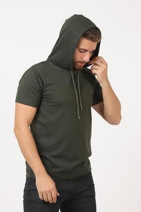 TENA MODA Erkek Haki Kısa Kollu Kapşonlu Basic Tişört