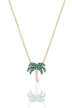 Söğütlü Silver Gümüş Rose Yeşil Taşlı Palmiye Kolye