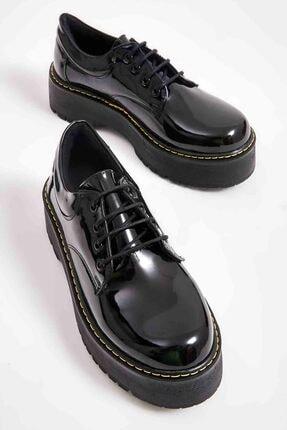 Bambi Siyah Rugan Kadın Oxford Ayakkabı M0836000198