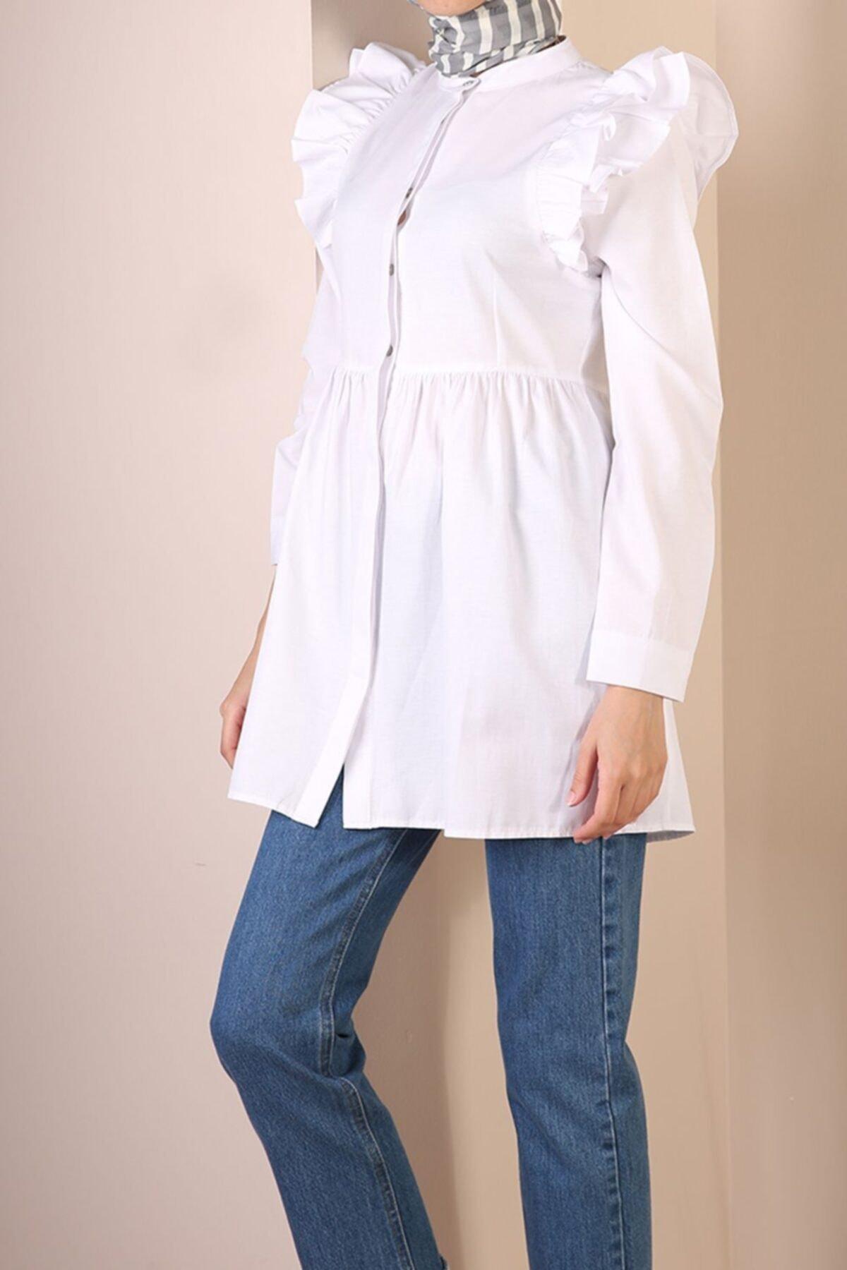 ALLDAY Beyaz Gizli Patlı Omuz Fırfır Detaylı Gömlek 1
