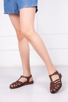 Deripabuc Hakiki Deri Kahverengi Kadın Deri Sandalet Dp-0067