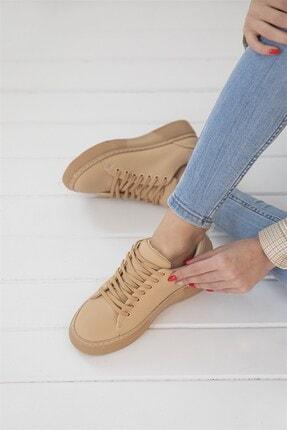STRASWANS Papel Bayan Deri Spor Ayakkabı Nude