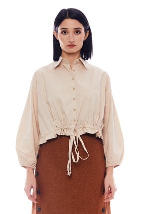 Manche Taş Kadın Beli Bağlamalı Uzun Kol Gömlek   Mk21w163204