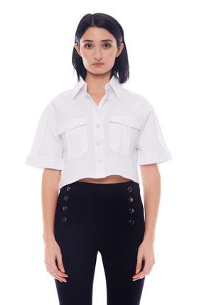 Manche Beyaz Kadın Gömlek   Mk20s162603