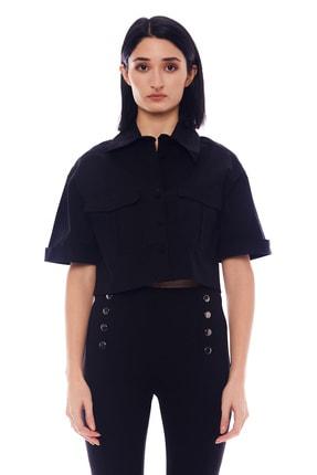 Manche Siyah Kadın Gömlek   Mk20s162603