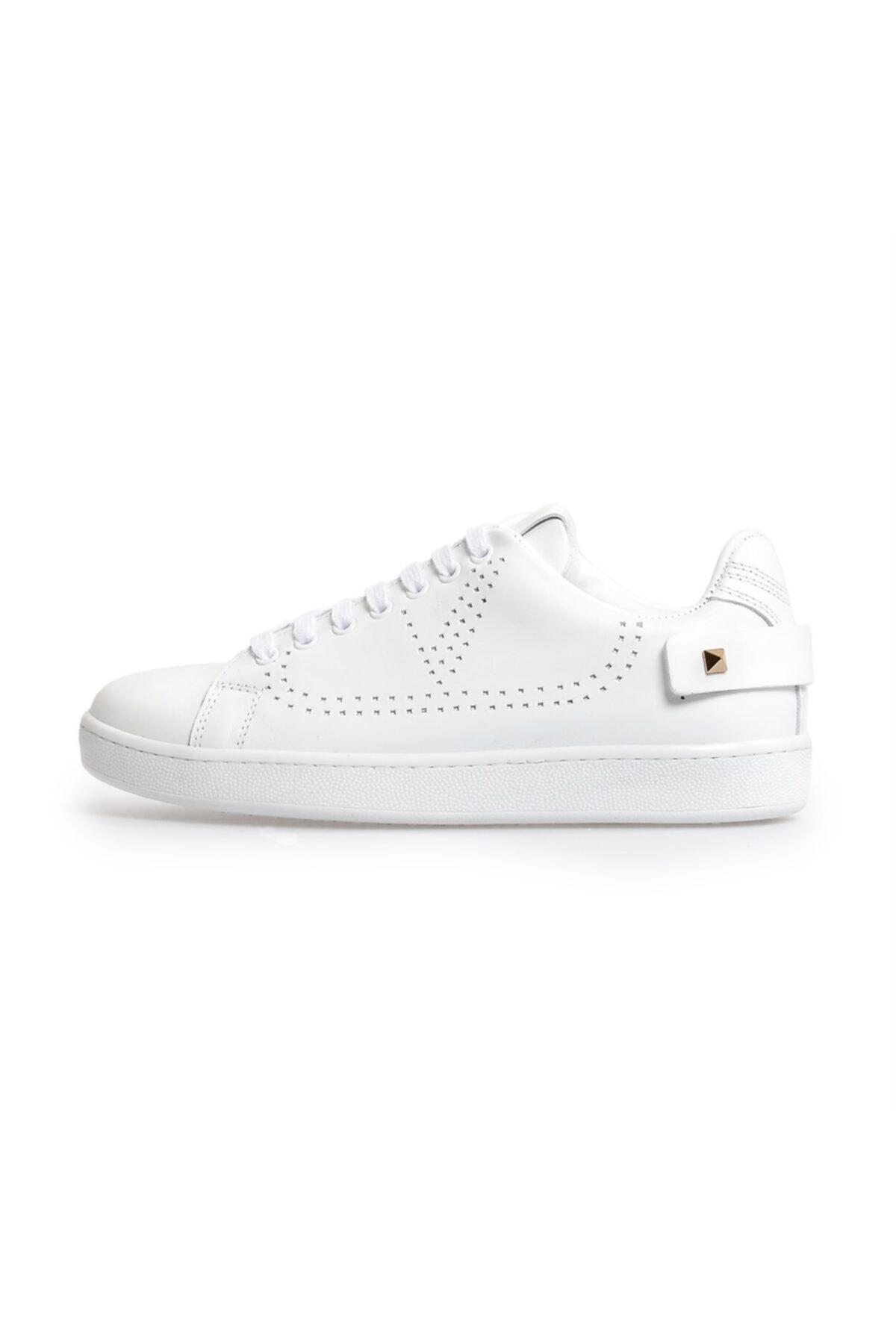 Flower Beyaz Trok Detaylı Bağcıklı Sneakers 1
